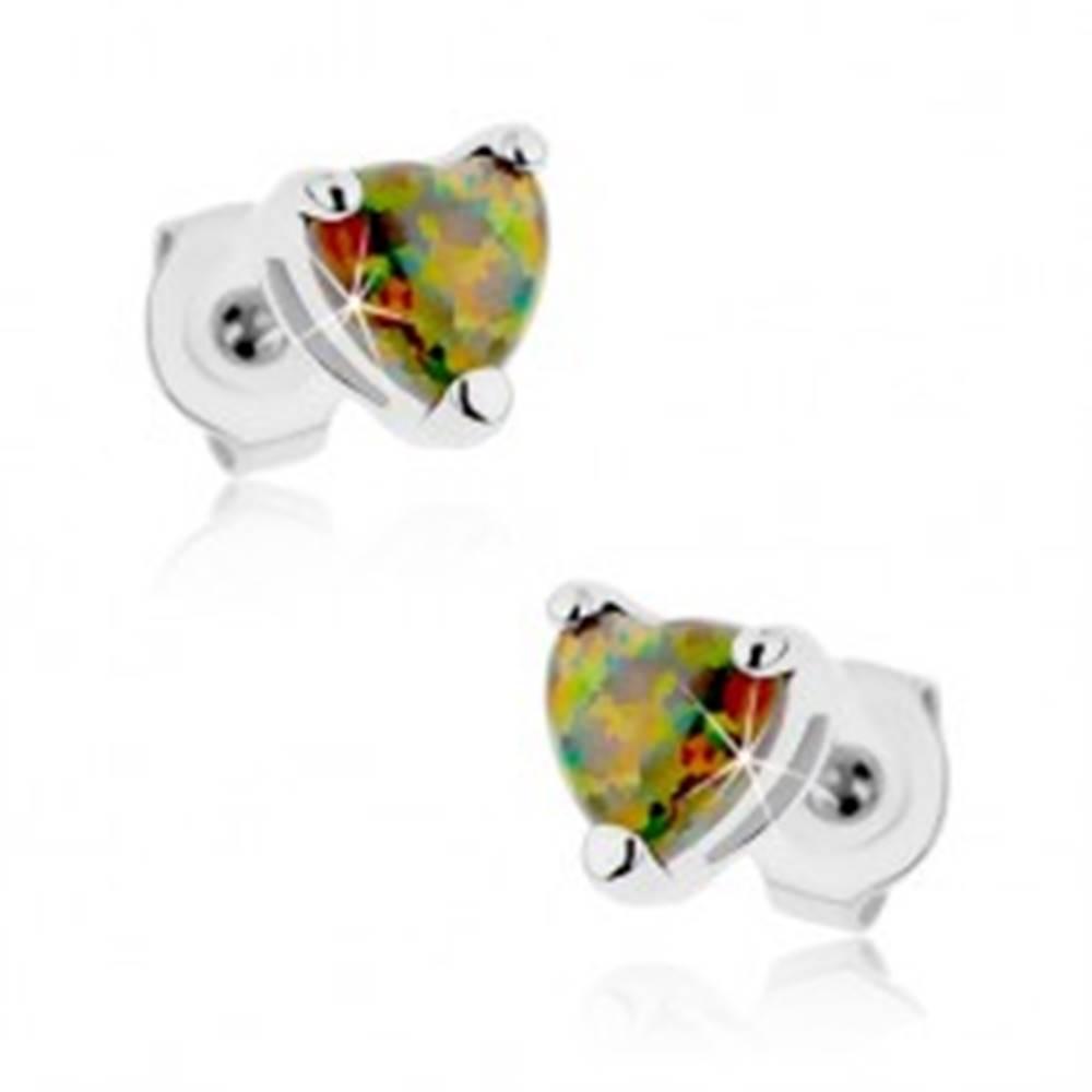 Šperky eshop Náušnice z ocele 316L, srdiečko zo syntetického opálu, rôznofarebné odlesky