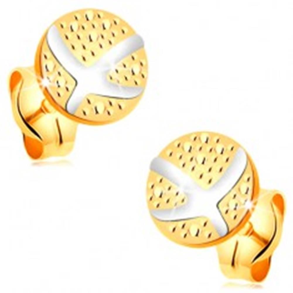 Šperky eshop Náušnice zo 14K zlata - gravírovaný kruh, prekrížené oblúky z bieleho zlata