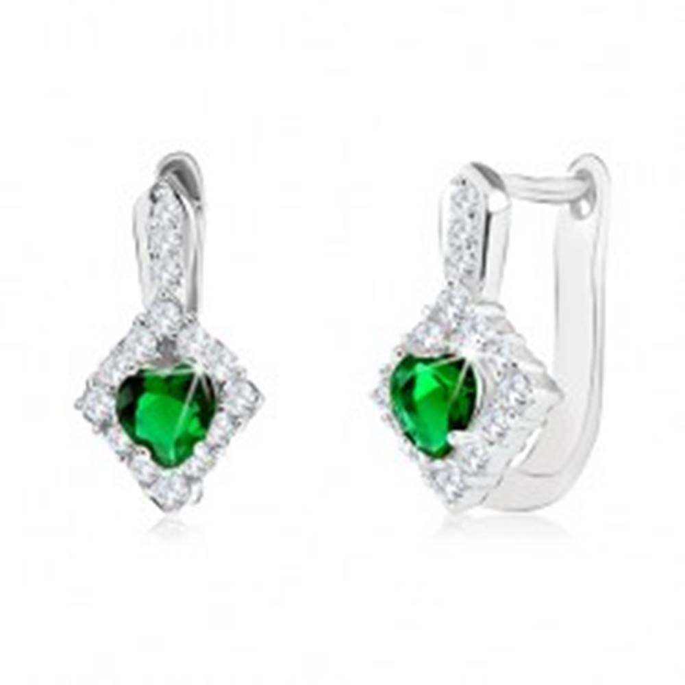 Šperky eshop Náušnice zo striebra 925, zelený srdiečkový zirkón v čírom kosoštvorci