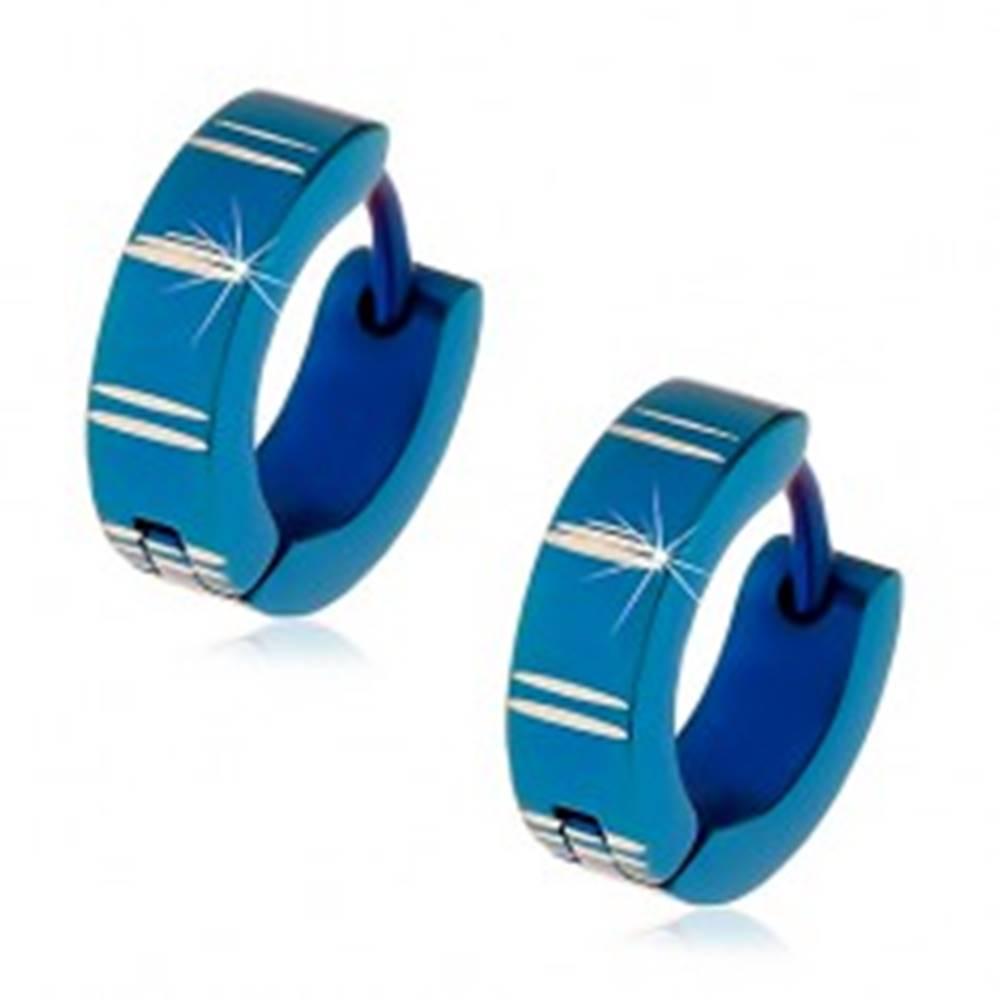 Šperky eshop Oceľové náušnice s kĺbovým zapínaním, modré krúžky so zárezmi