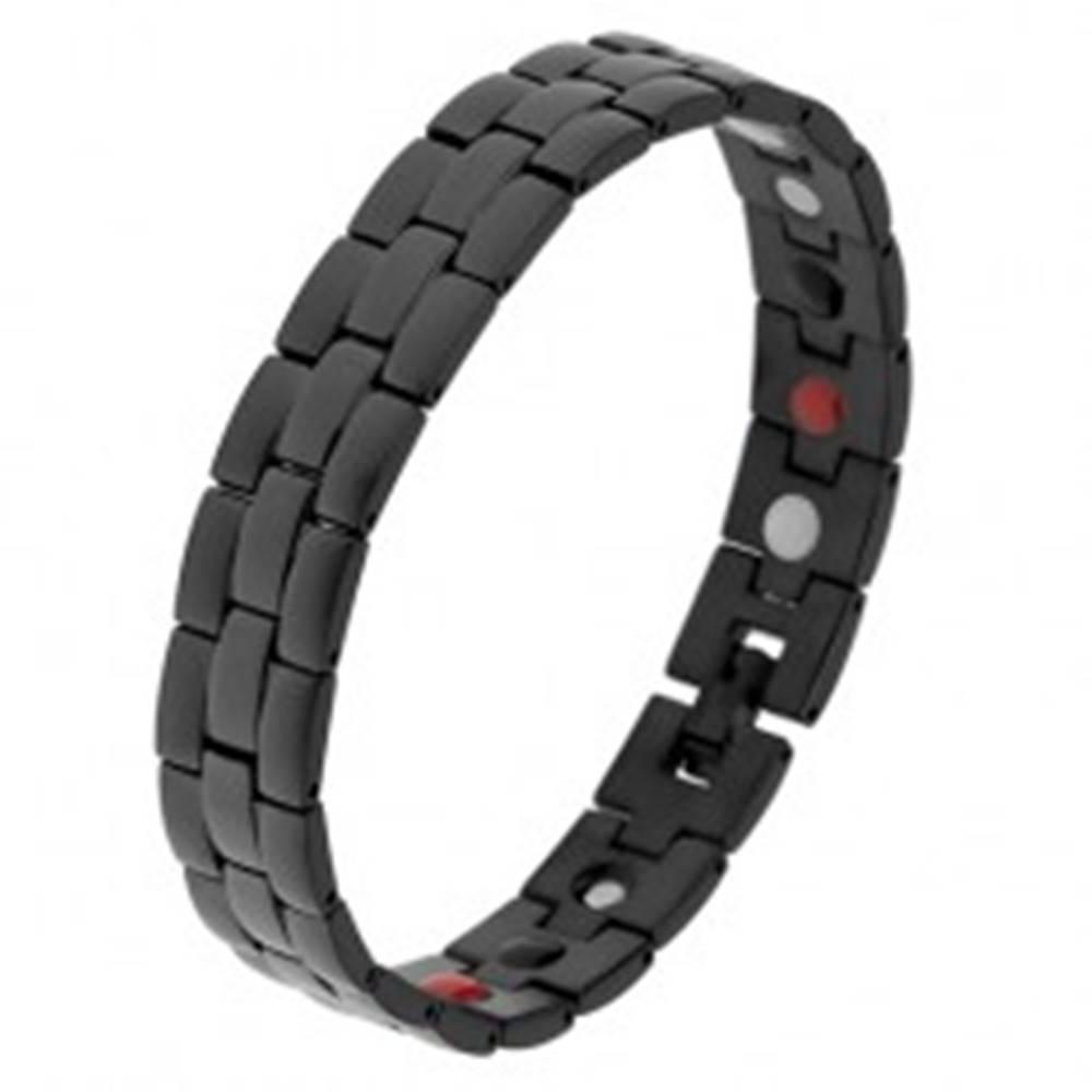 Šperky eshop Oceľový náramok čiernej farby, matné a lesklé prúžky, farebné magnety