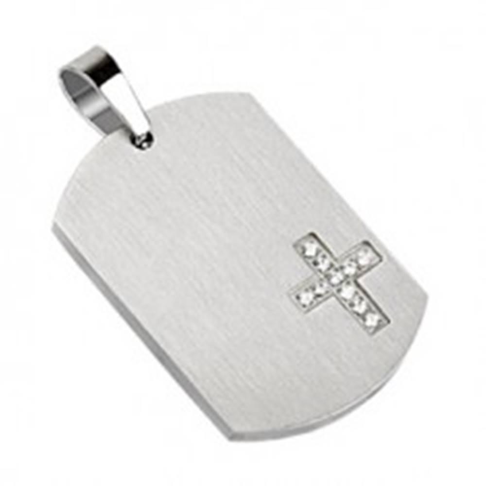 Šperky eshop Oceľový prívesok s krížikom, matná zaoblená známka