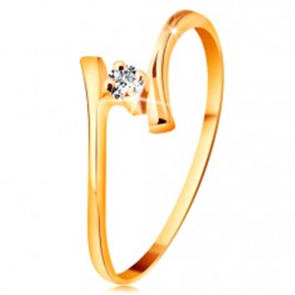 Šperky eshop Prsteň zo žltého zlata 585 - žiarivý číry briliant, tenké zahnuté ramená - Veľkosť: 48 mm