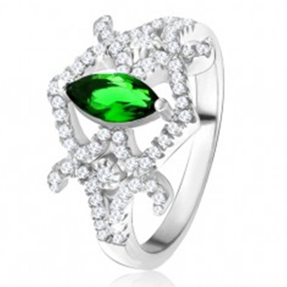 Šperky eshop Prsteň - zrniečkový zelený zirkón, zaoblené línie, číre kamienky, striebro 925 - Veľkosť: 49 mm