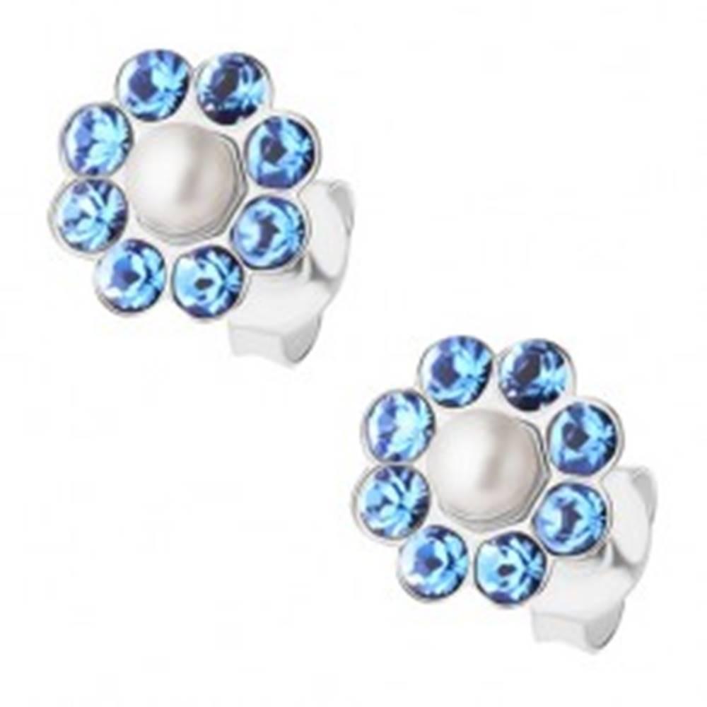 Šperky eshop Puzetové náušnice, striebro 925, modrý ligotavý kvietok, biela perlička