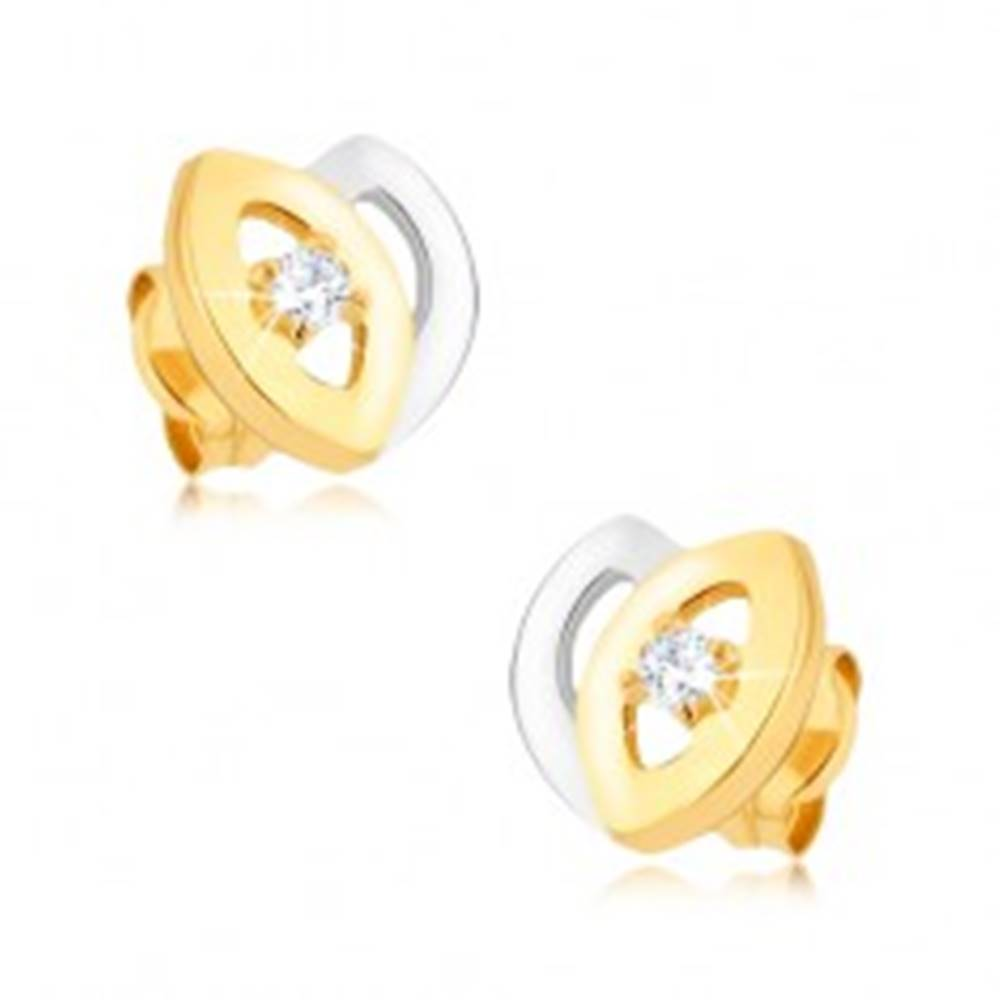 Šperky eshop Ródiované dvojfarebné náušnice z 9K zlata - tulipán, výrezy, zirkón