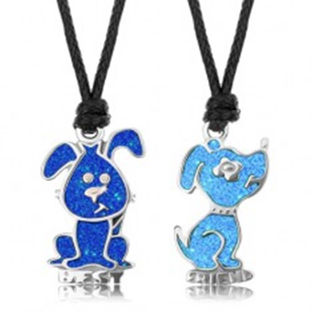 Šperky eshop Šnúrkové náhrdelníky, svetlomodrý a tmavomodrý psík, glazúra, nápis BEST FRIEND