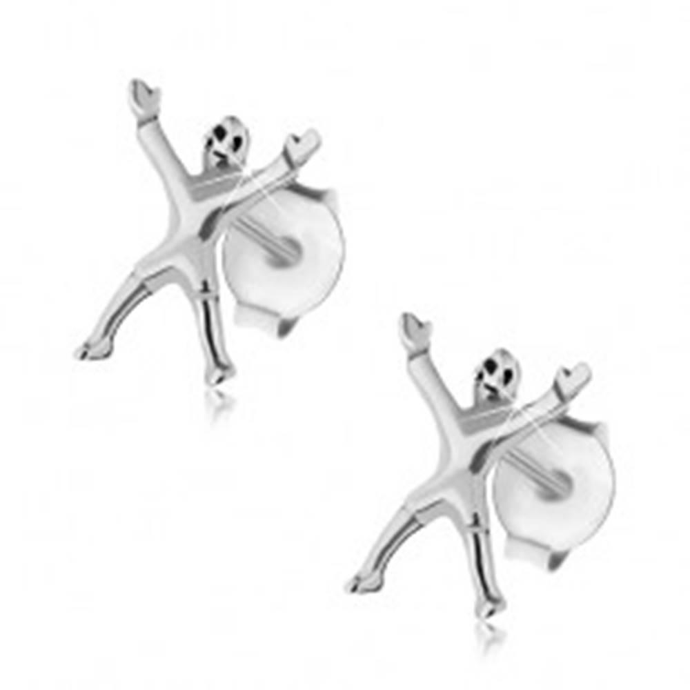 Šperky eshop Strieborné 925 náušnice, futbalový brankár, lesklý povrch, puzetky