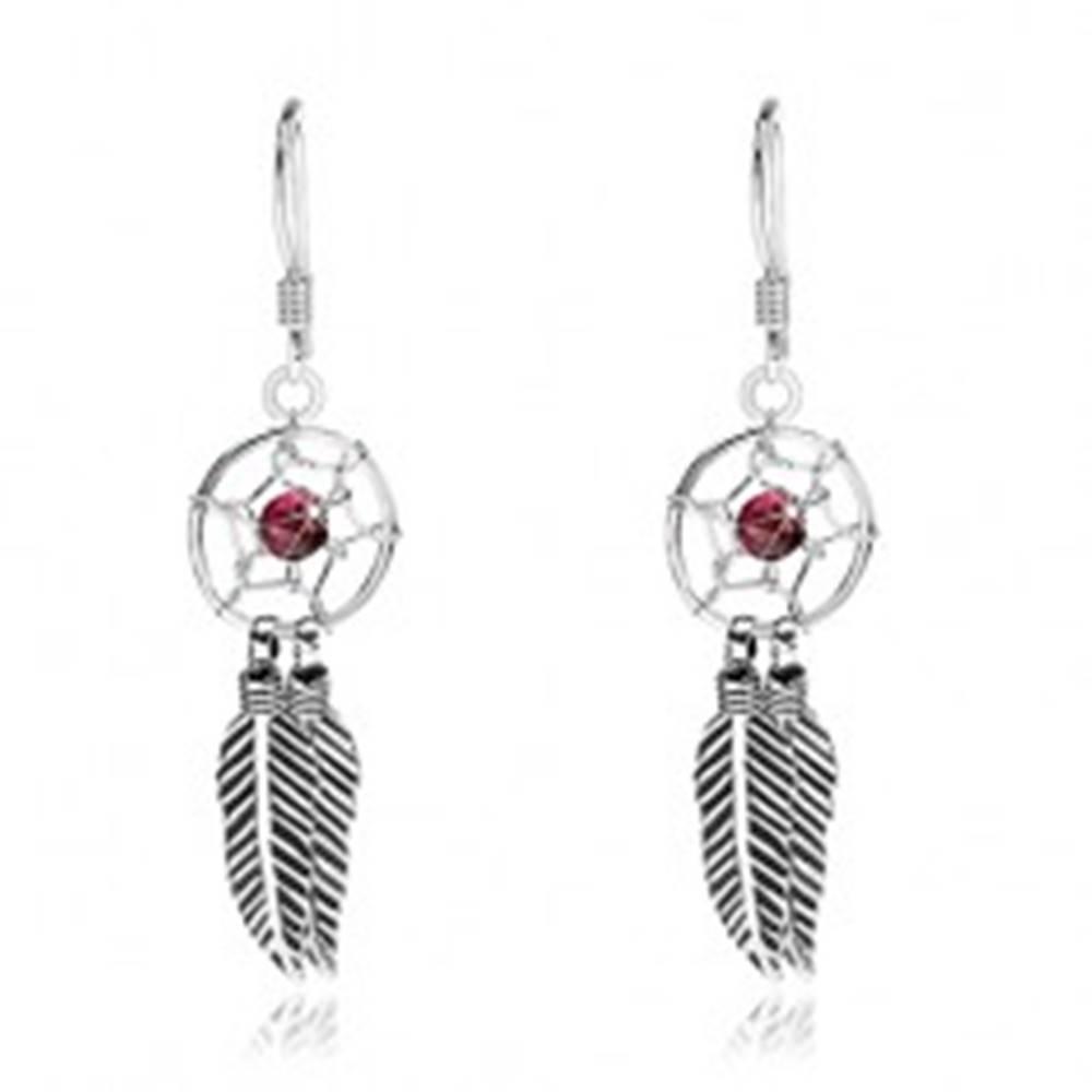 Šperky eshop Strieborné 925 náušnice, lapač snov, tmavočervená korálka a pierka, 10 mm