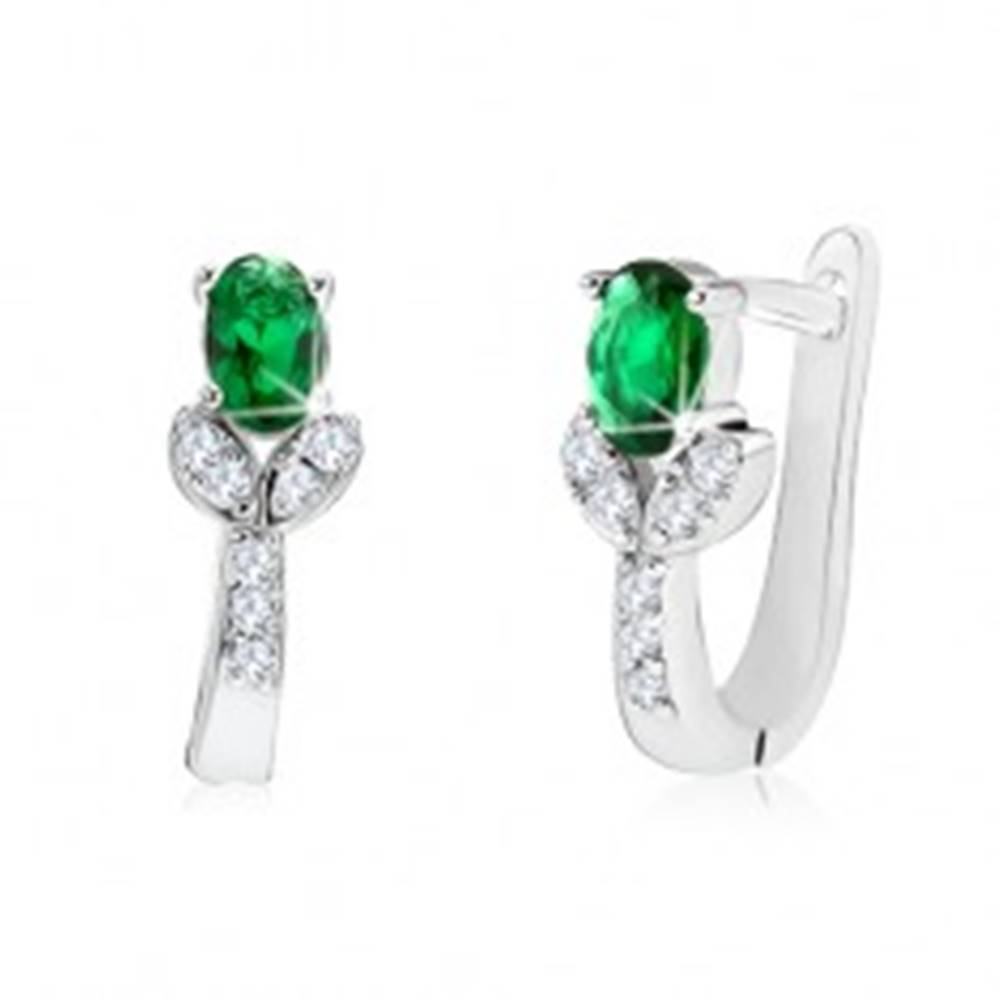 Šperky eshop Strieborné 925 náušnice - zelený kvet na čírej zirkónovej stonke s lístkami