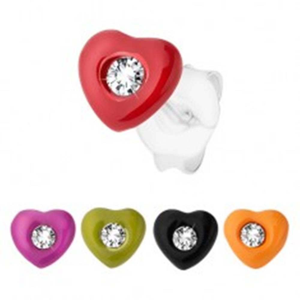 Šperky eshop Strieborné náušnice 925, srdiečko zdobené farebnou glazúrou, číry zirkónik - Farba: Červená