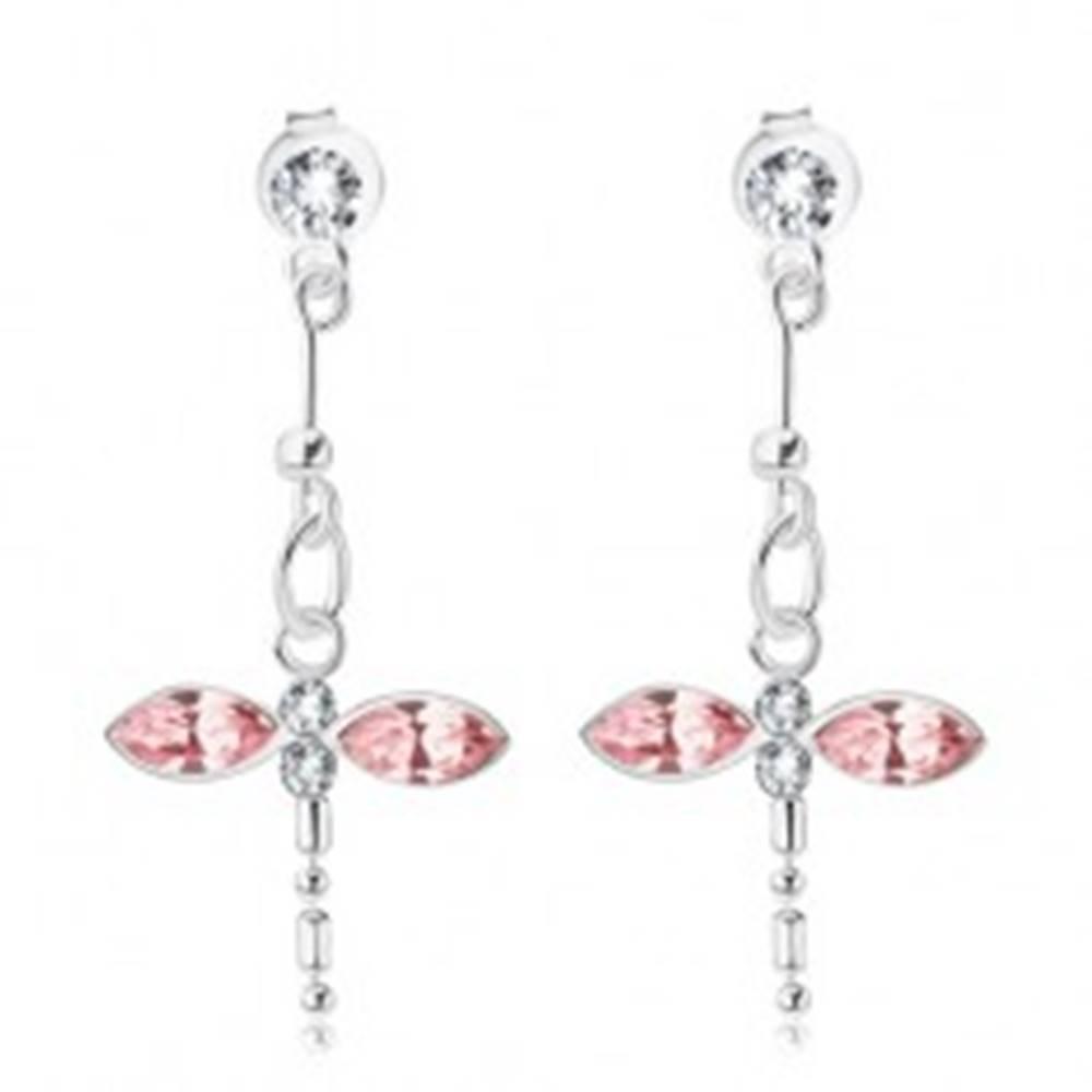 Šperky eshop Strieborné náušnice 925, visiaca ružovo-číra vážka, krištále Swarovski