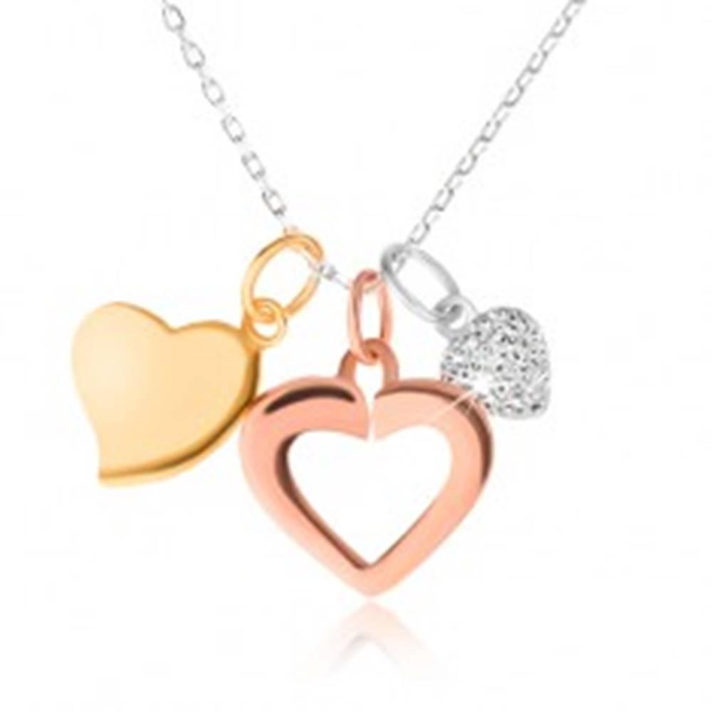 Šperky eshop Strieborný 925 náhrdelník - retiazka, tri srdiečka, zlatá, strieborná a medená farba