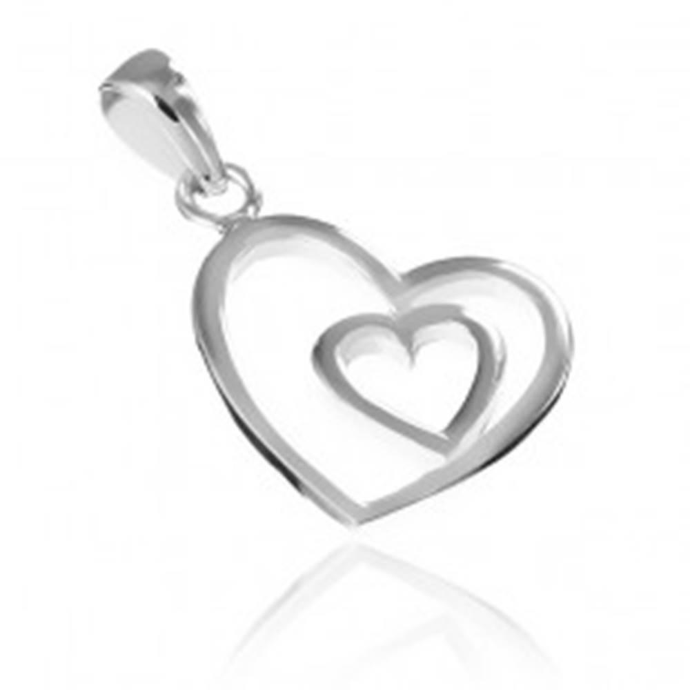 Šperky eshop Strieborný prívesok 925 - silueta srdiečka vo väčšom srdci