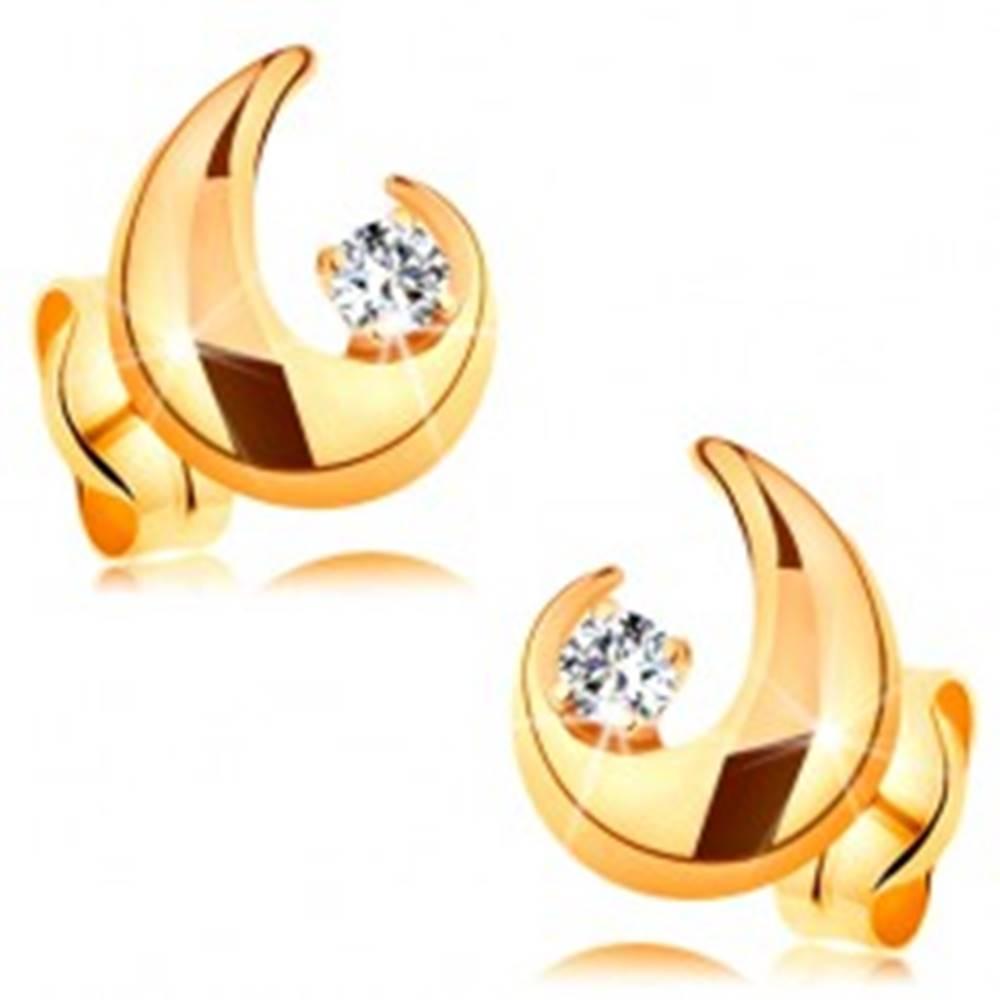 Šperky eshop Zlaté 14K náušnice - číry briliant a neúplná kontúra veľkej kvapky