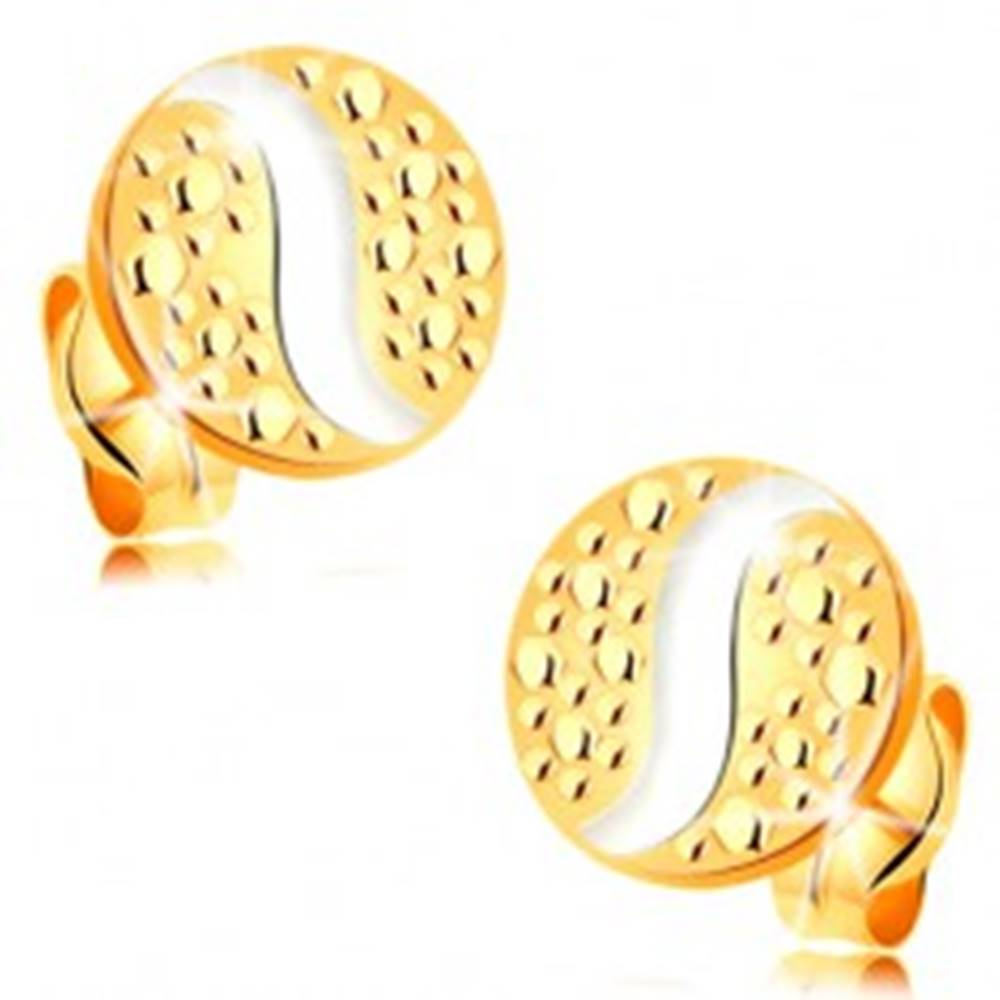 Šperky eshop Zlaté 14K náušnice - kruh s bodkami a vlnkou z bieleho zlata, puzetky