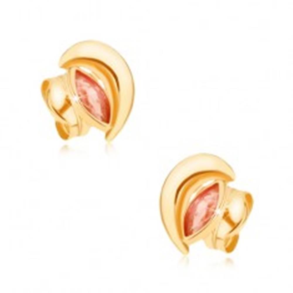 Šperky eshop Zlaté náušnice 375 - ligotavý kosák mesiaca, červený zrniečkový zirkón