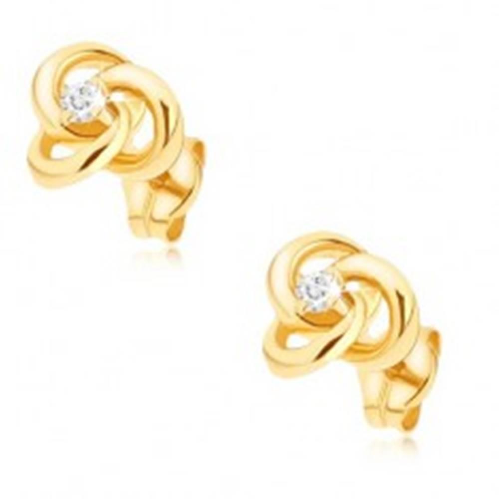 Šperky eshop Zlaté náušnice 375 - prepojené prstence so zirkónom uprostred