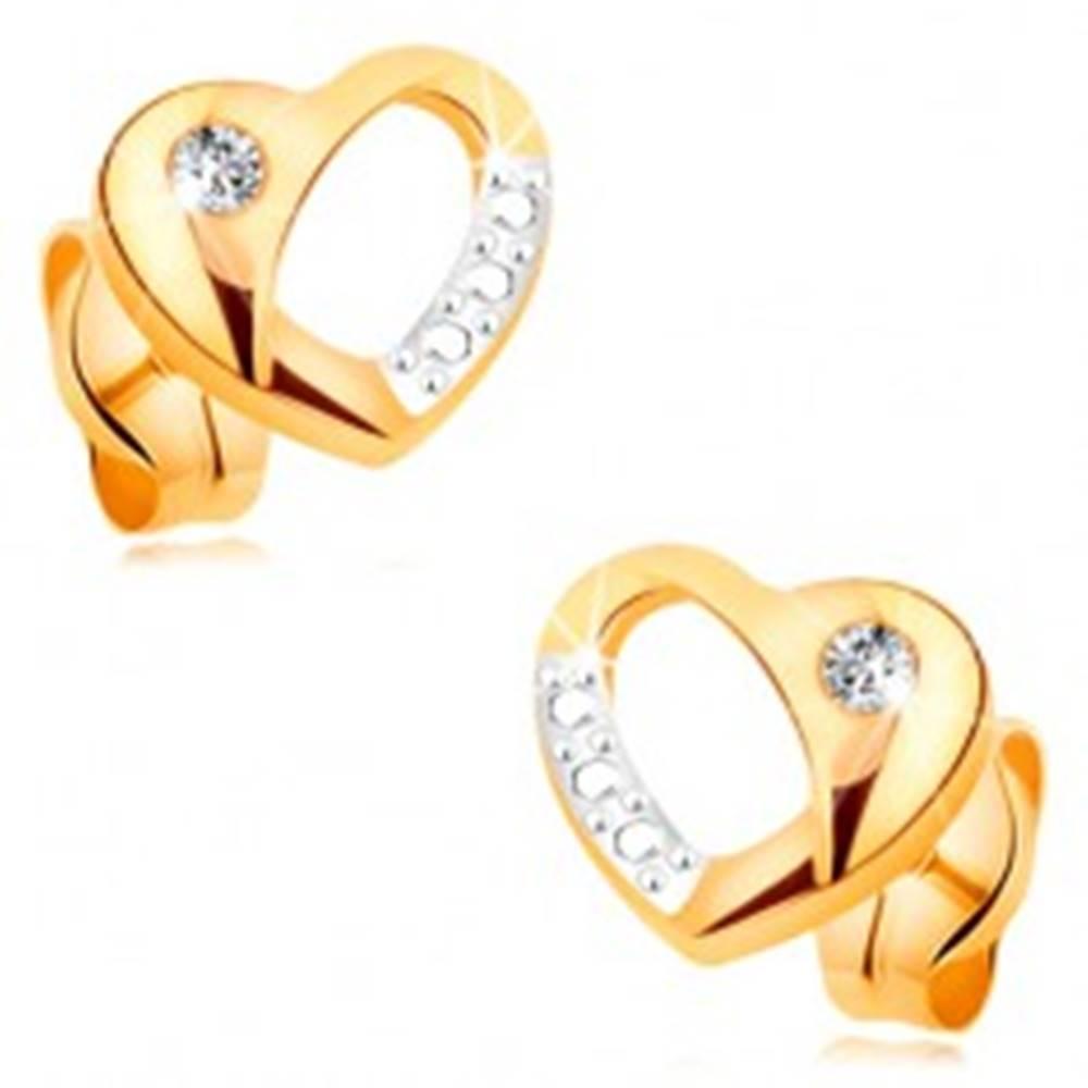 Šperky eshop Zlaté náušnice 585 - dvojfarebné srdiečko s výrezom a vsadeným čírym zirkónom
