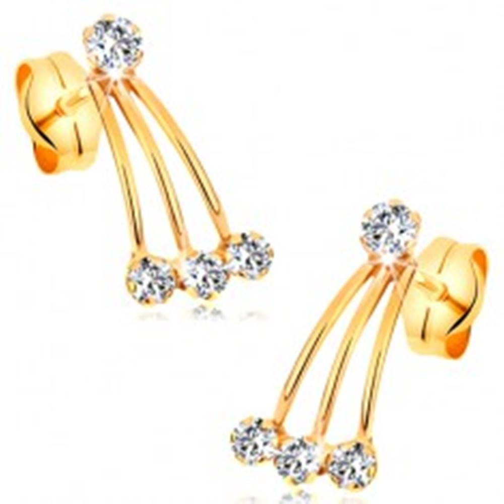 Šperky eshop Zlaté puzetové náušnice 585 - úzke pásiky a okrúhle zirkóny čírej farby