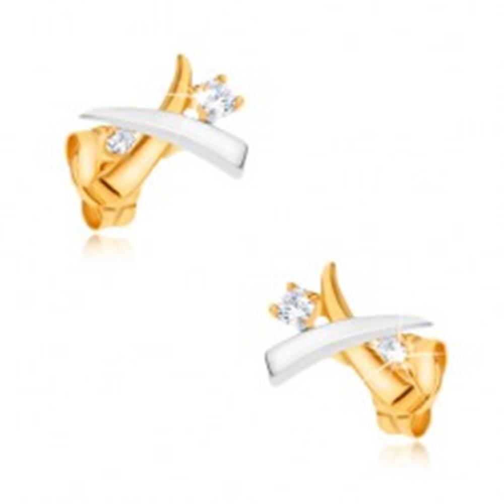 Šperky eshop Zlaté ródiované náušnice 375 - prekrížené dvojfarebné kly, zirkóny