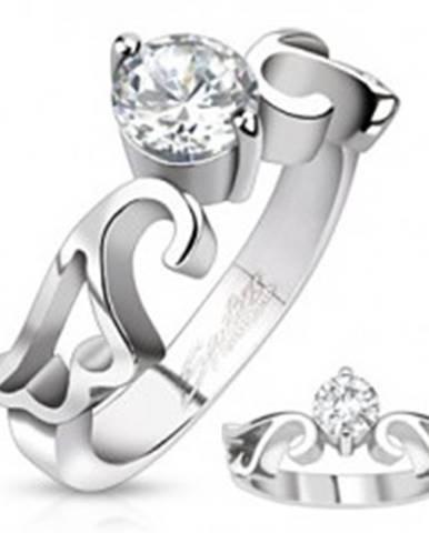 Zásnubný prsteň z ocele s čírym zirkónom a výrezom krídiel - Veľkosť: 49 mm