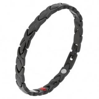 Čierny náramok z ocele, lesklé články, glazúrovaný povrch, magnety