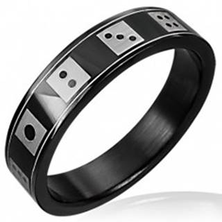 Čierny oceľový prsteň  hracie kocky - Veľkosť: 55 mm