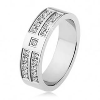 Lesklý prsteň z ocele striebornej farby, ozdobné línie čírych zirkónov - Veľkosť: 53 mm