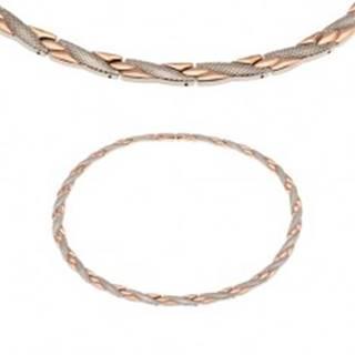 Magnetický náhrdelník z ocele 316L, medená a strieborná farba, šikmé pásiky