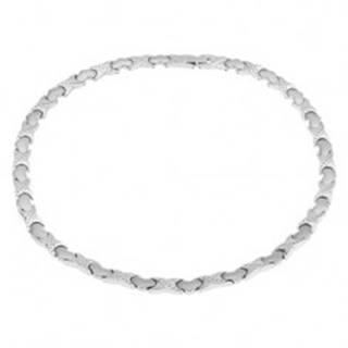"""Magnetický náhrdelník z ocele, strieborná farba, """"X"""" články, srdiečka"""