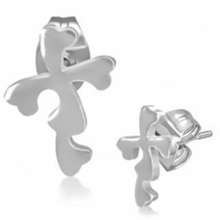 Oceľové náušnice - puzetky s kvetinovým krížom