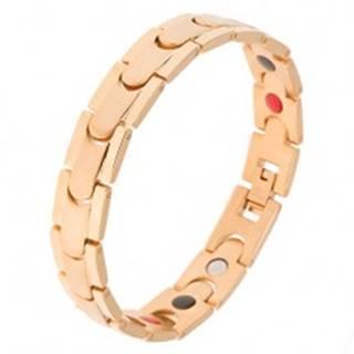 Oceľový náramok, zlatá farba, lesklé pásy a matný stredový pruh, magnety