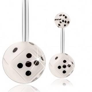 Oceľový piercing do brucha, guličky - biela hracia kocka v čírej glazúre