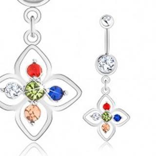 Oceľový piercing do pupka, strieborná farba, kvietok zdobený farebnými zirkónmi