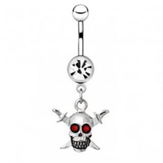 Oceľový piercing do pupku - lebka s červenými očami, dva meče