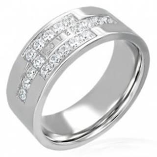 Oceľový prsteň so zirkónmi a nápisom LOVE - Veľkosť: 49 mm
