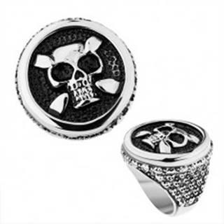 Oceľový prsteň v striebornom odtieni, kruh, patinovaná lebka, srdcia, bodky - Veľkosť: 56 mm