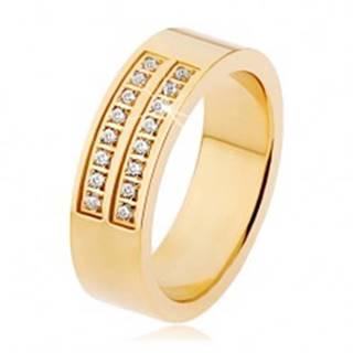 Oceľový prsteň zlatej farby, dvojitá línia čírych zirkónov - Veľkosť: 53 mm