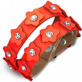 Oranžový kožený náramok - pás s kvietkami a zirkónmi