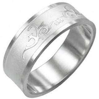 Prsteň z chirurgickej ocele - lesklý ornament - Veľkosť: 54 mm