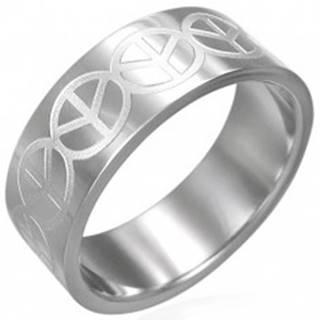 Prsteň z chirurgickej ocele - so znakom Peace - Veľkosť: 51 mm