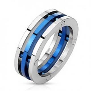 Prsteň z ocele - dvojfarebné oddelené prstence - Veľkosť: 56 mm