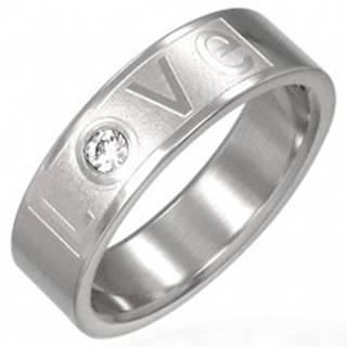 Prsteň z ocele - LOVE so zirkónom - Veľkosť: 51 mm