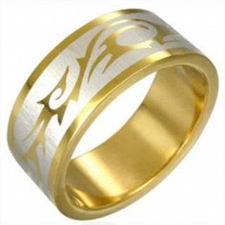 Prsteň zlatej farby TRIBAL SYMBOL - Veľkosť: 54 mm