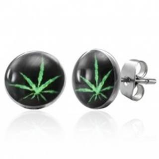 Puzetové oceľové náušnice, zelená marihuana na čiernom podklade
