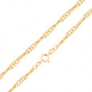 Retiazka zo žltého 14K zlata - ligotavé oválne očká, špirálový vzor, rôzne dĺžky - Dĺžka: 500 mm