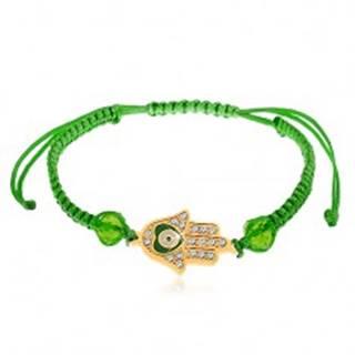 Šnúrkový náramok zelenej farby, Fatimina ruka, číre zirkóny, korálky