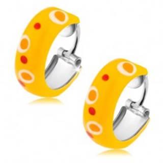 Strieborné náušnice 925, kruhy, žltá glazúra, červené a oranžové bodky