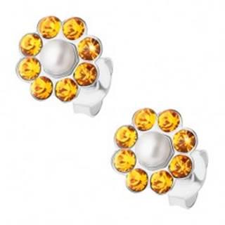 Strieborné náušnice 925, oranžový kvietok s bielou perličkou v strede, puzetky